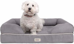 """Friends Forever Orthopedic Dog Bed Lounge Sofa Removable Cover 100% Suede 2"""" Mattress Memory-Foam Premium Prestige Edition 20"""" x 25"""" x 5"""" Pewter Grey Small"""
